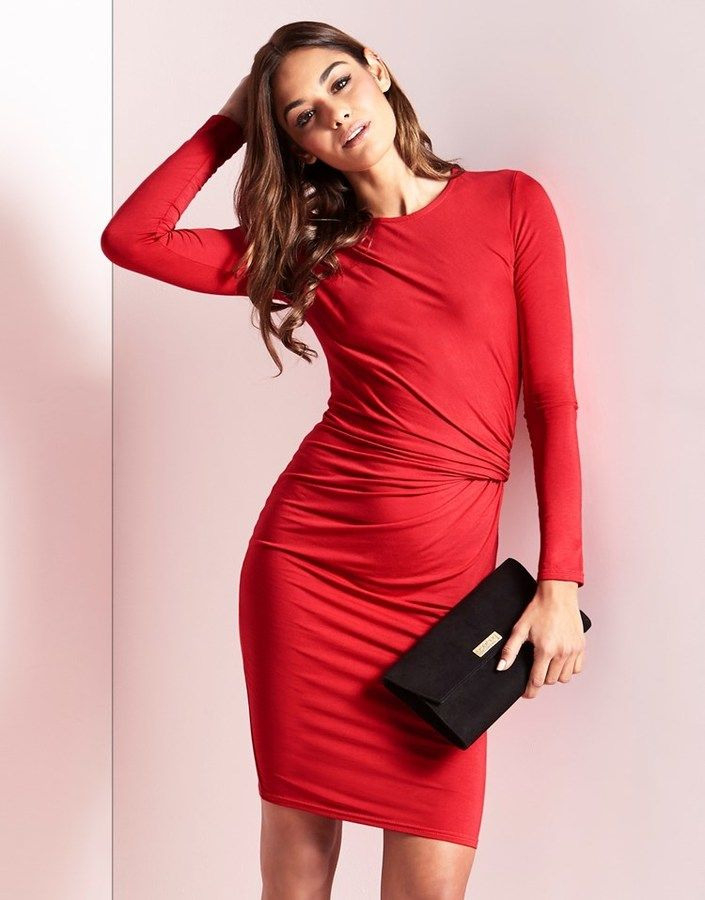 Lipsy Long Sleeve Knot Dress With Images  Long Sleeve