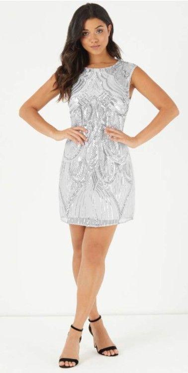 Lipsy Vip Paillettenkleid Silber  Pailletten Kleid
