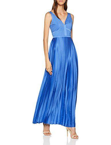 Little Mistress Damen Kleid Blue Satin Maxi Blue Azure