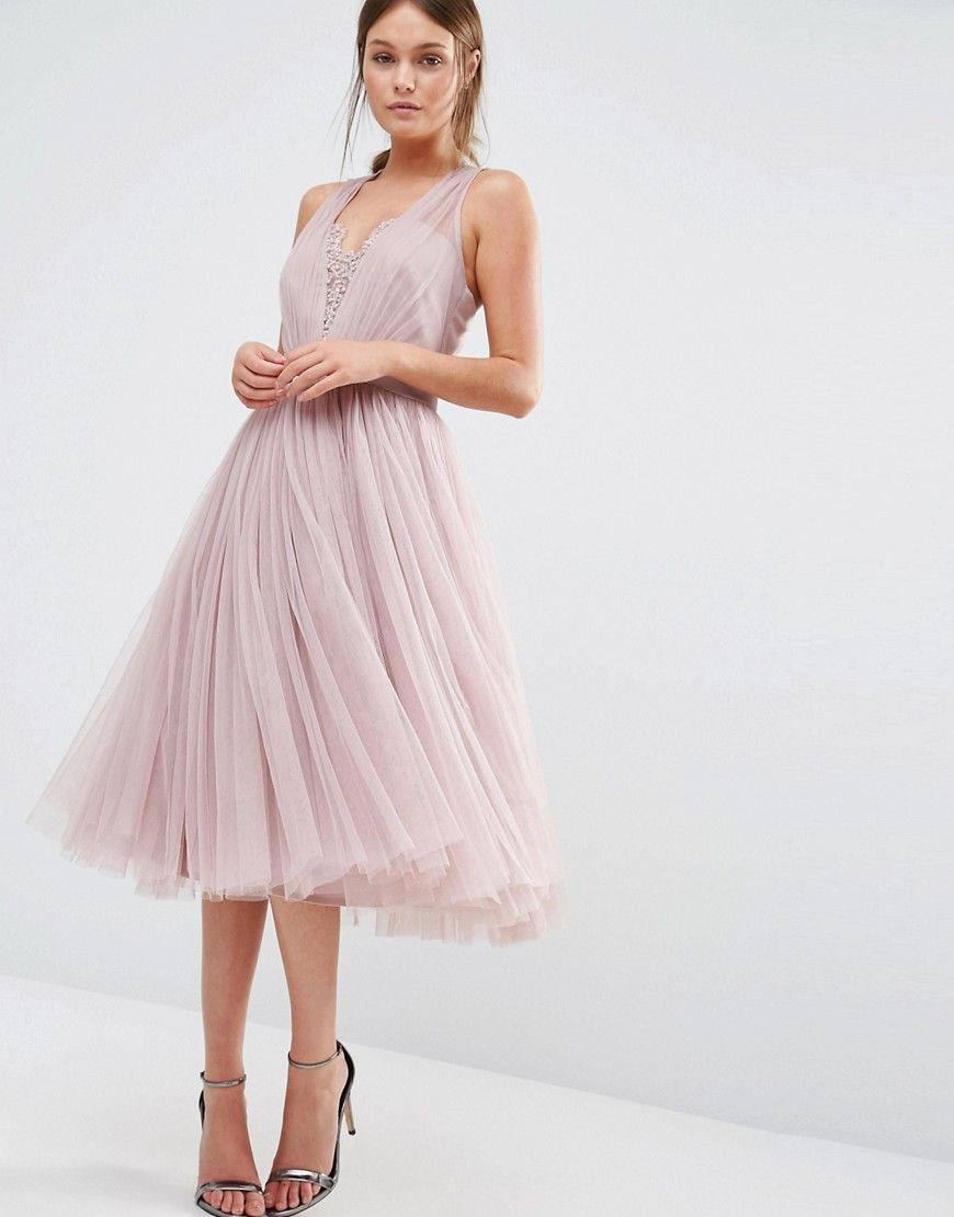 Little Mistress Embellished Midi Dress With Tulle Skirt At
