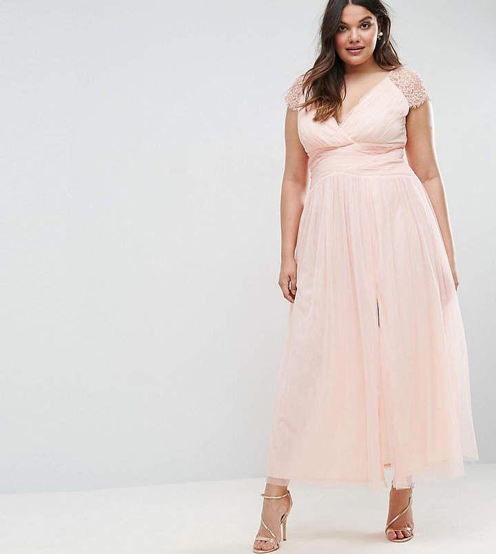 Little Mistress Plus Maxi Dress With Lace Shoulder  Kleid