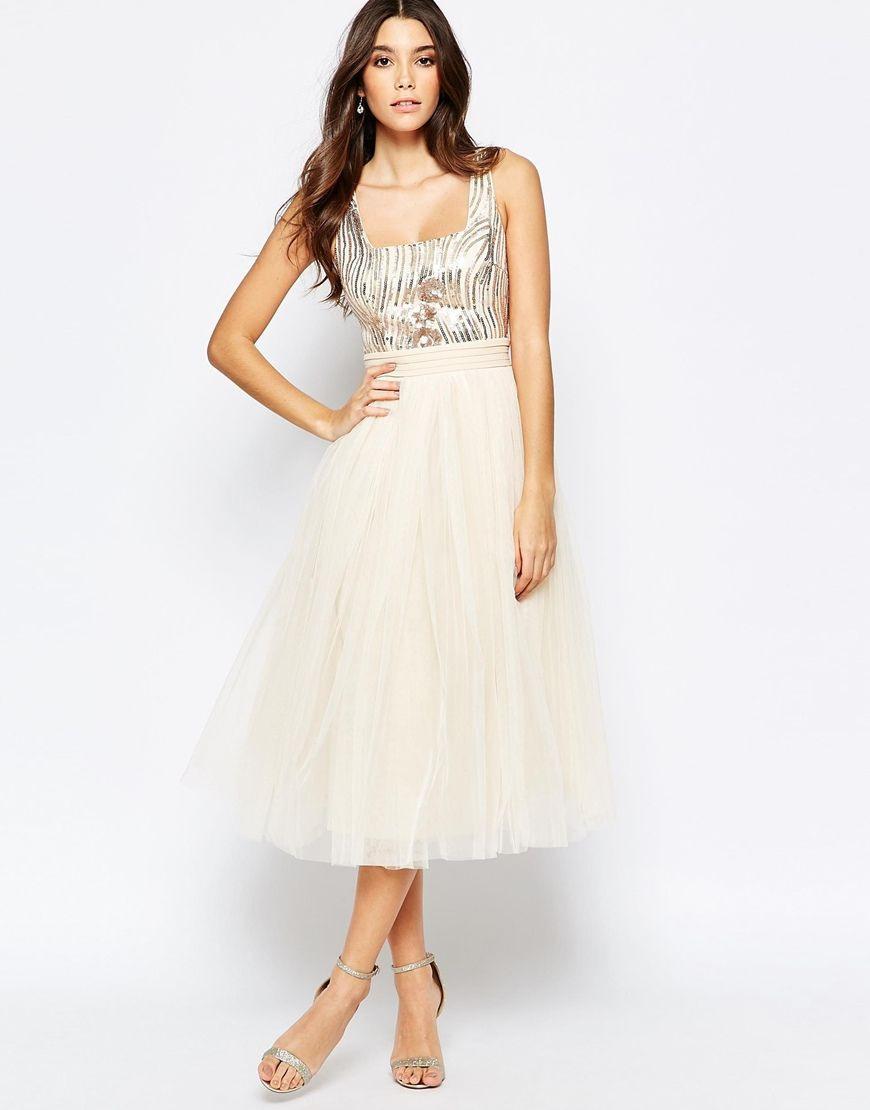 Little Mistress Sequin Midi Dress With Tulle Skirt