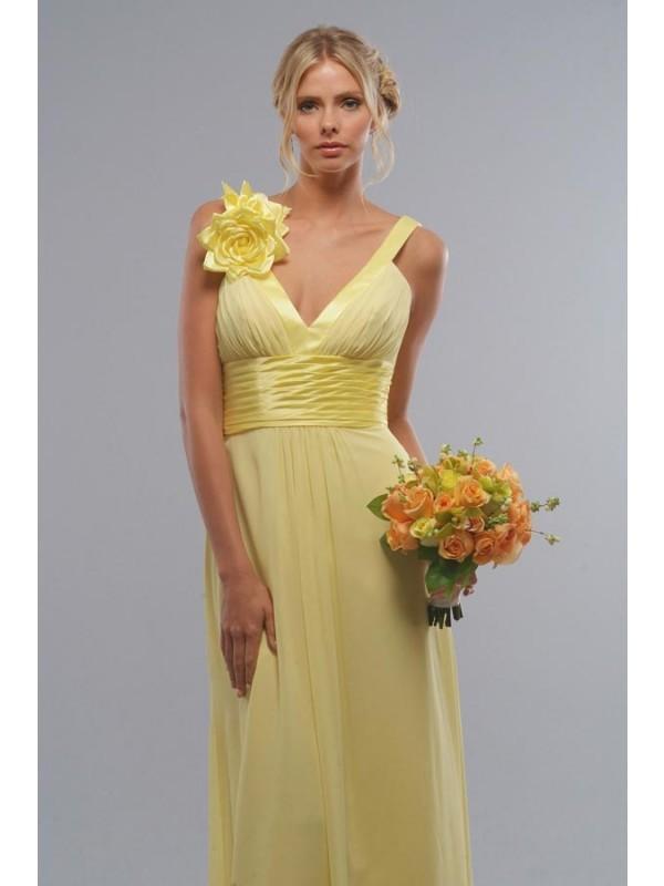 Long Bridesmaid Dresses Yellow Chiffon Flower Vneck