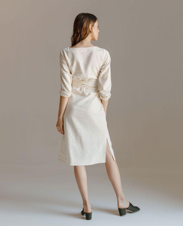 Long Linen Dress Bridesmaid Dress Linen Tunic Wrap