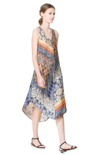 Long Printed Dress  Dresses  Woman  Zara Canada In A