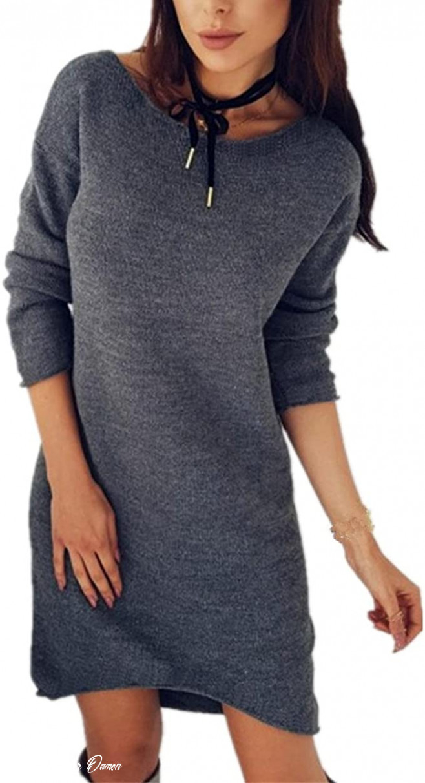 Longra Damen Mode Pullover Kleider Strickkleid Sweater