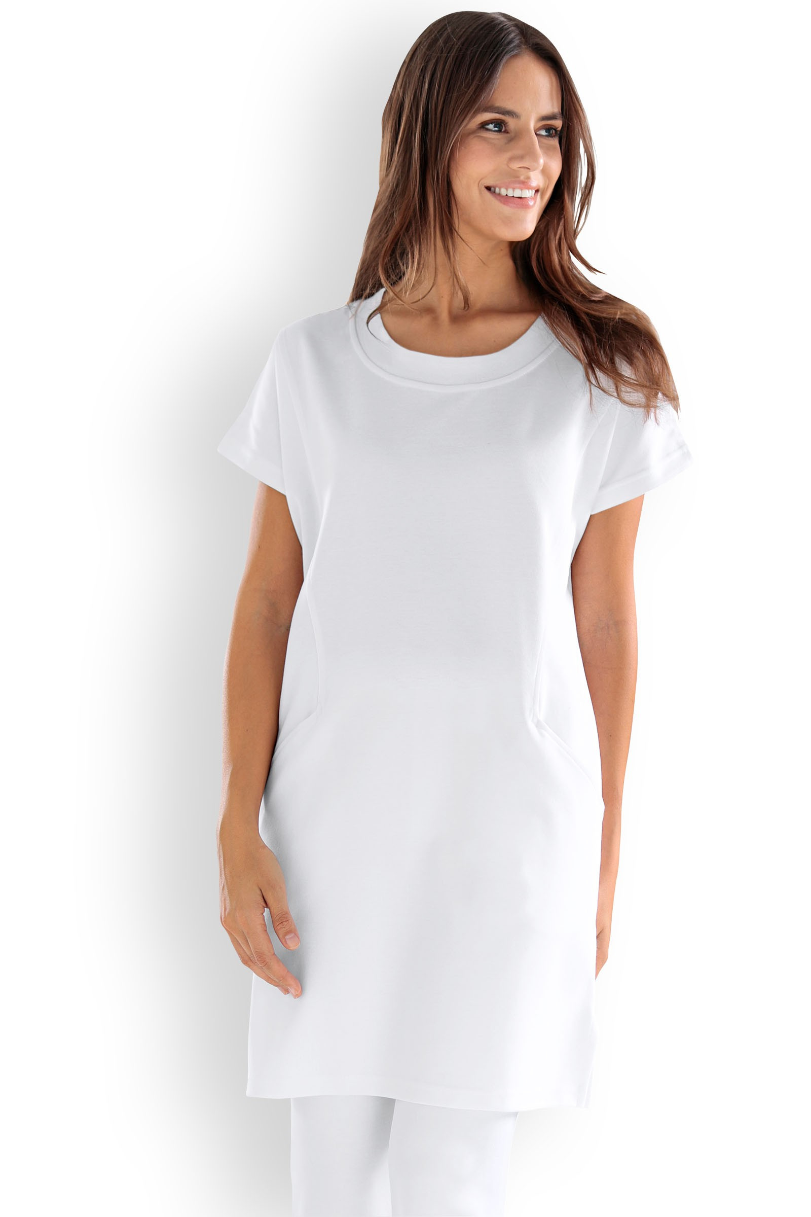 Longshirt Für Damen Weiss Extra Lang  Clinic Dress