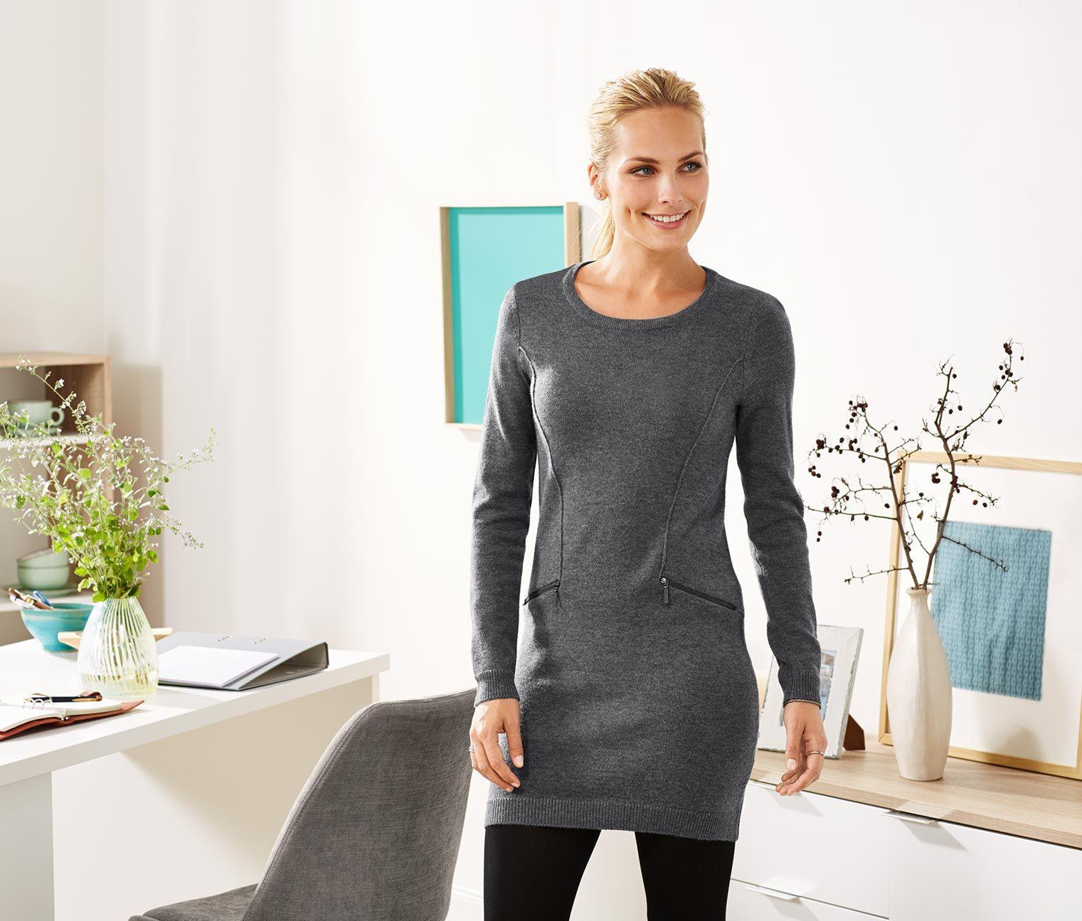 Longstrickpullover  Pullover Kleid Arbeit Strickpullover
