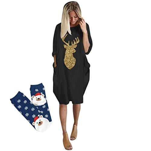 Lopily Weihnachtskleid Damen Plus Size Jumperkleid Locker