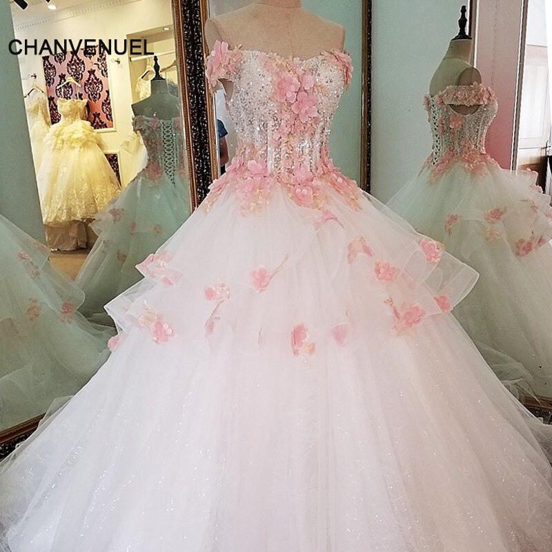 Ls63675 Rosa Blumen Hochzeit Kleid Ballkleid Lace Up