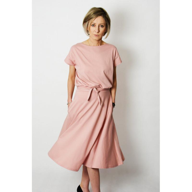Lucy  Midi Ausgestelltes Kleid Gestrickt  Schmutziges