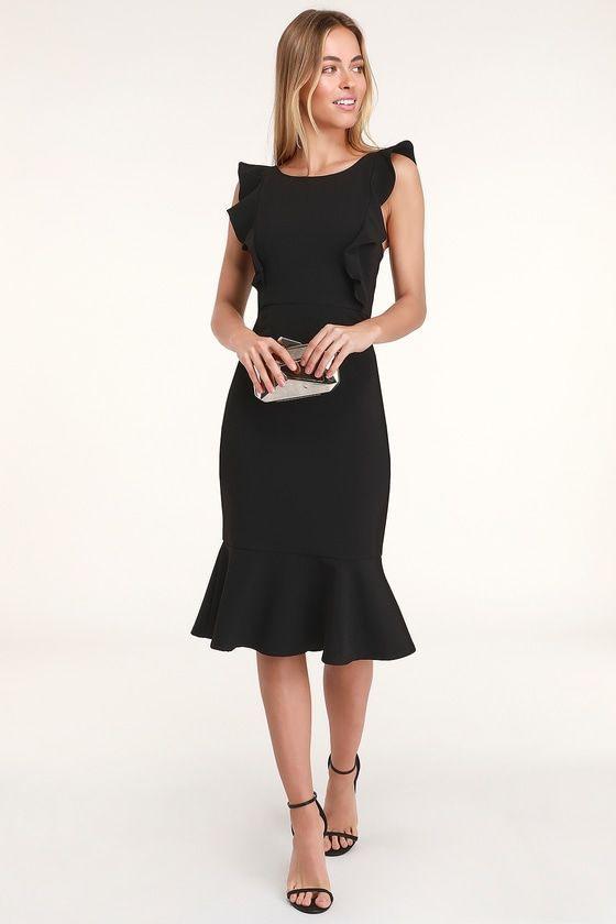 Lulus  Hearts Aflutter Black Ruffled Bodycon Midi Dress