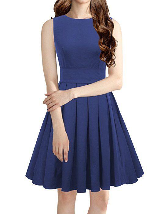 Luouse Sommer Damen Ohne Arm Kleid Dress Vintage Kleid