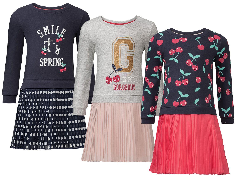 Lupilu® Sweatkleid Mädchen Mit Schulterknöpfung