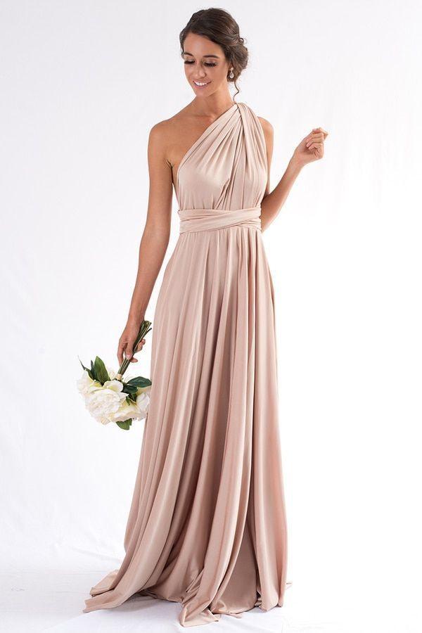 Luxe Satin Ballkleid Multiway Infinity Kleid In Hellgold