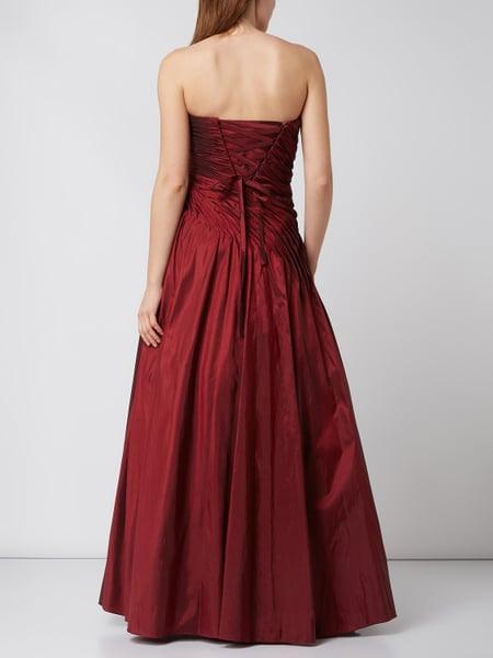 Luxuar Abendkleid Aus Taft Mit Gelegten Falten In Rot