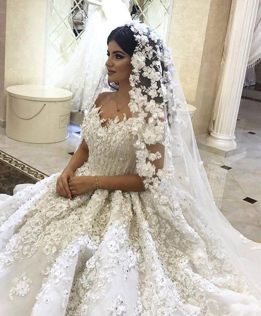 Luxus 3D Spitze Blumen Ballkleid Hochzeit Kleider Vintage