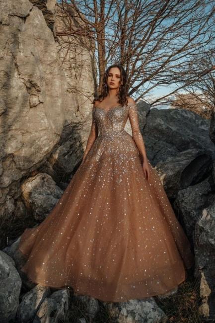 Luxus Abendkleider Lang Glitzer  Abiballkleider Mit Armel