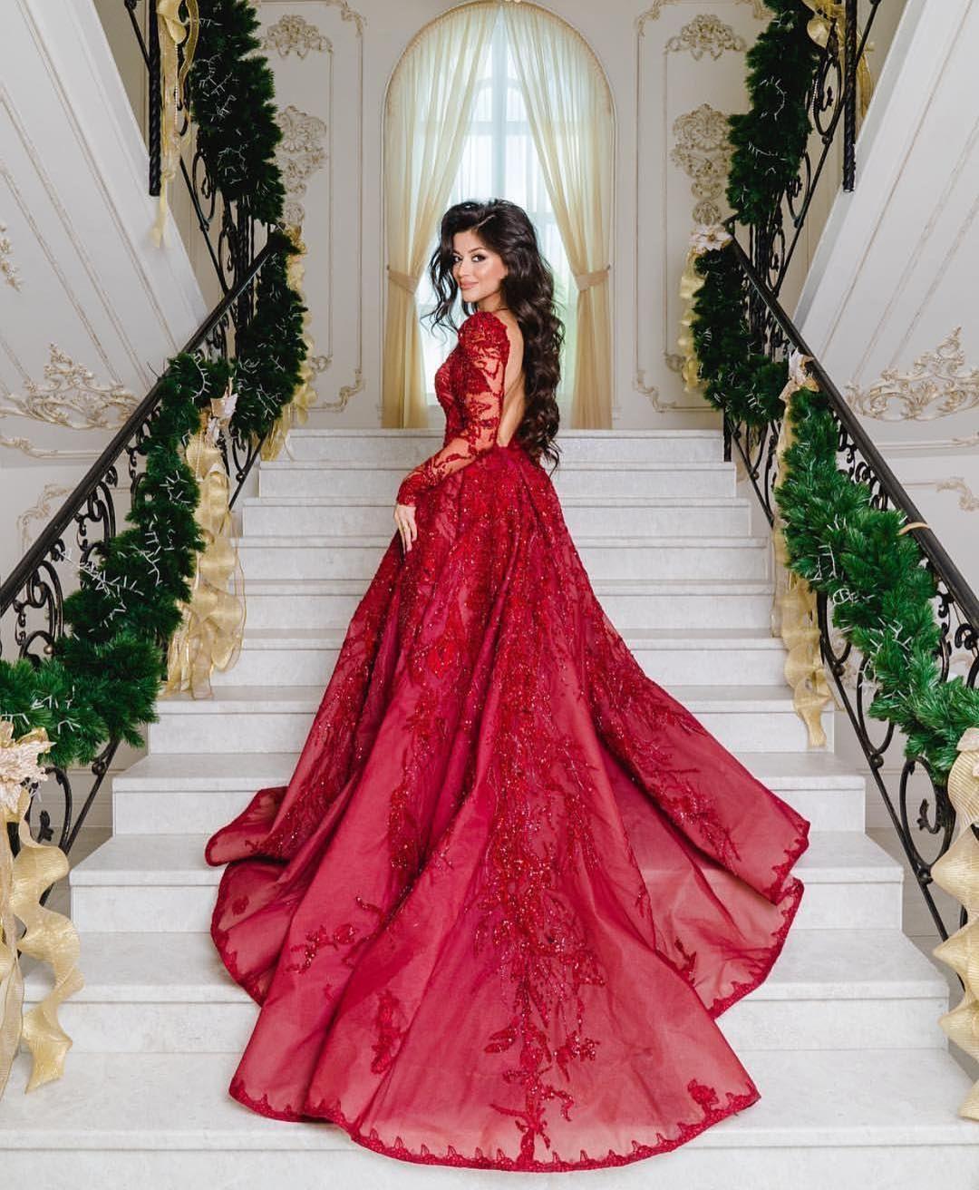 Luxus Abendkleider Mit Ärmel  Spitze Abiballkleider Lang
