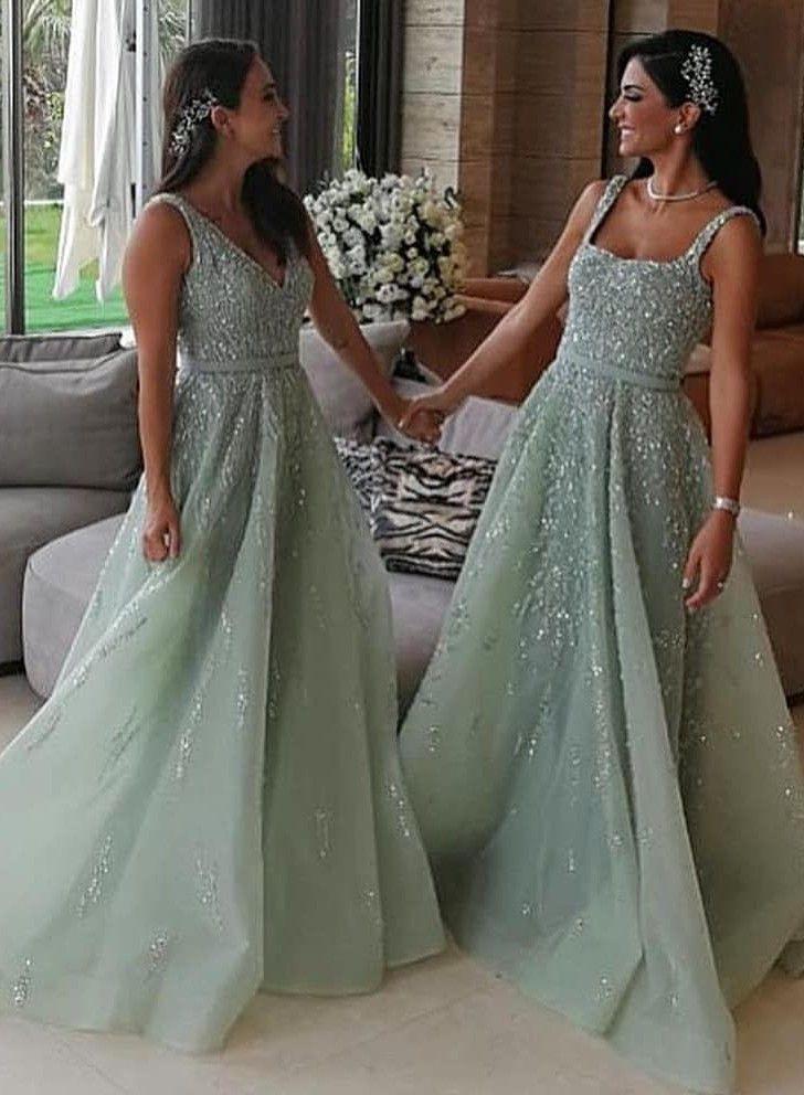 Luxus Brautjungfernkleider Lang Mint  Kleider Für