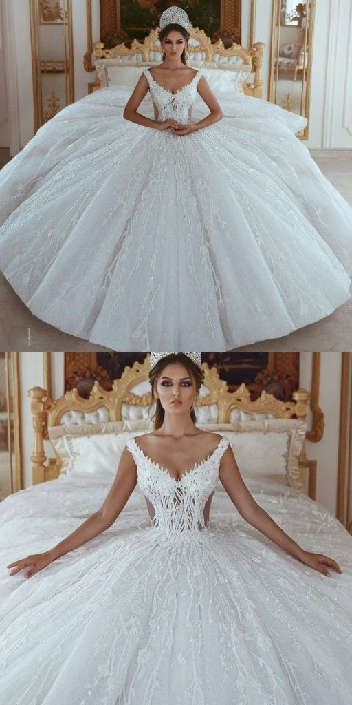 Luxus Brautkleider A Linie Weiß Prinzessin Brautkleider