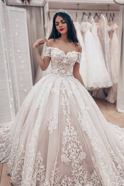 Luxus Brautkleider Prinzessin  Spitze Hochzeitskleider