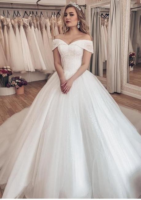 Luxus Brautkleider Prinzessin  Weiße Hochzeitskleider Mit