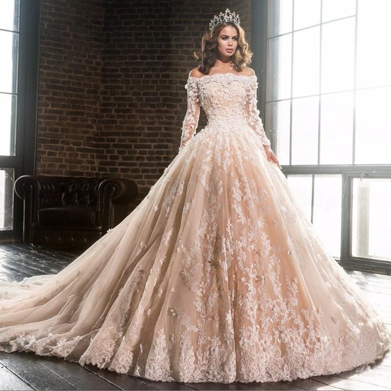 Luxus Champagner Boot Ausschnitt Spitze Hochzeit Kleider