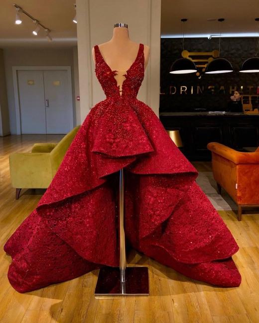 Luxus Cocktailkleider Rot Spitze  Abendkleider Kurz Vorne