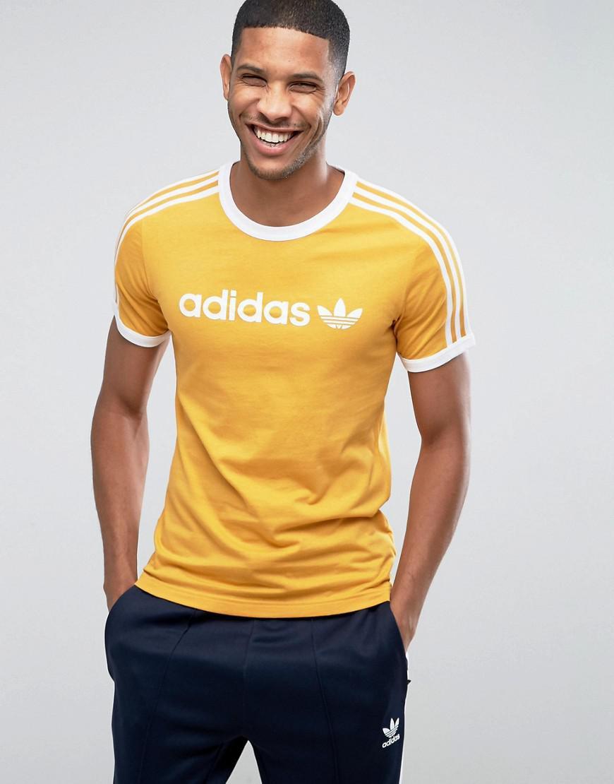 Lyst  Adidas Originals Adicolor Linear Tshirt In Yellow