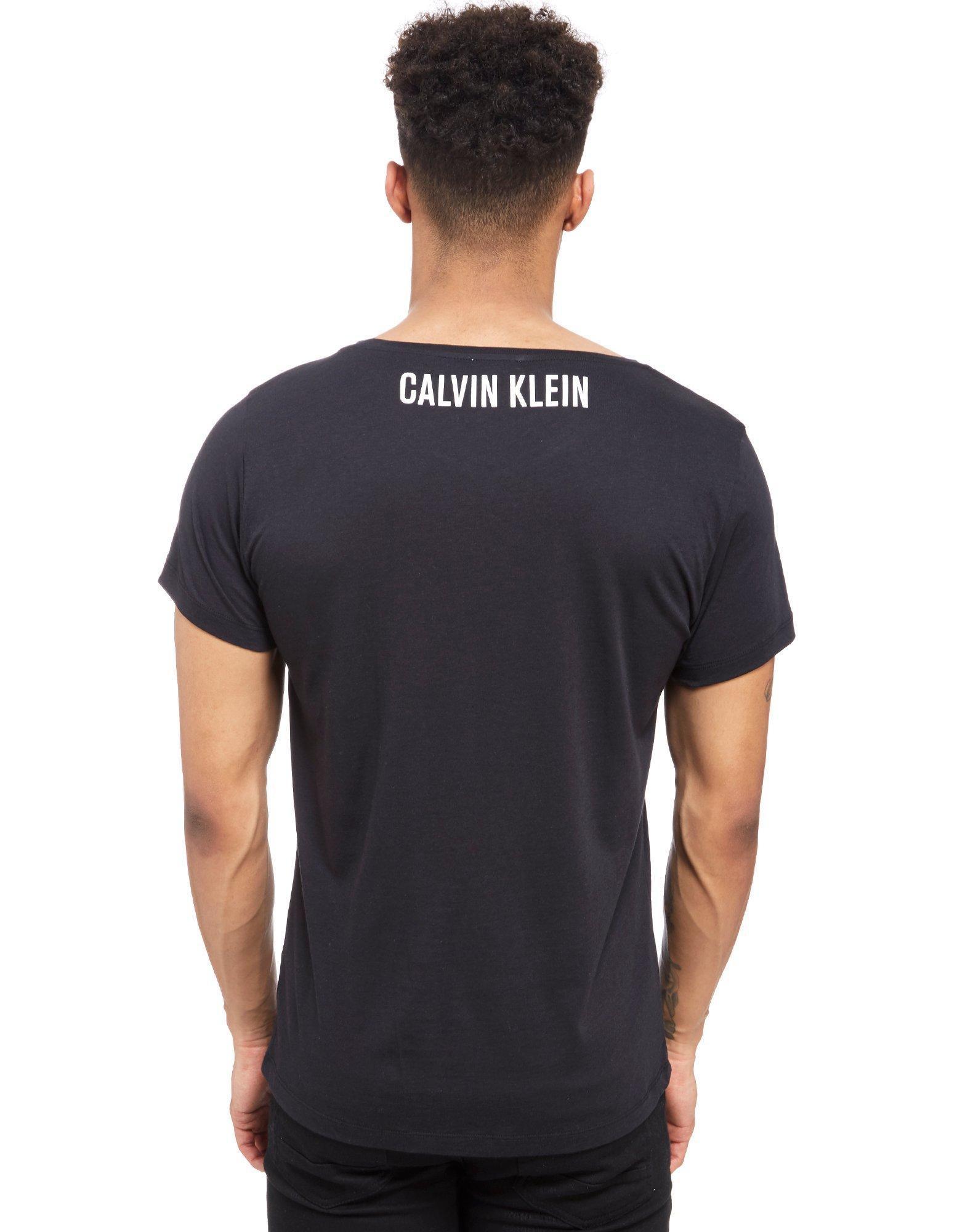 Lyst  Calvin Klein Side Logo Tshirt In Black For Men