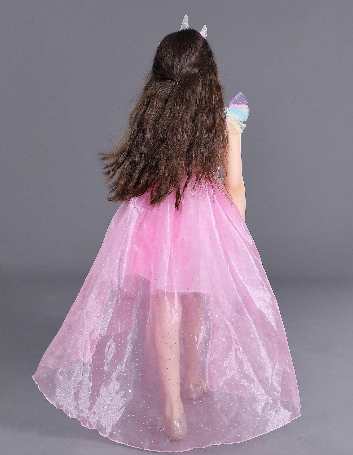 Mädchen Einhorn Prinzessin Kostüm Regenbogen Kleid