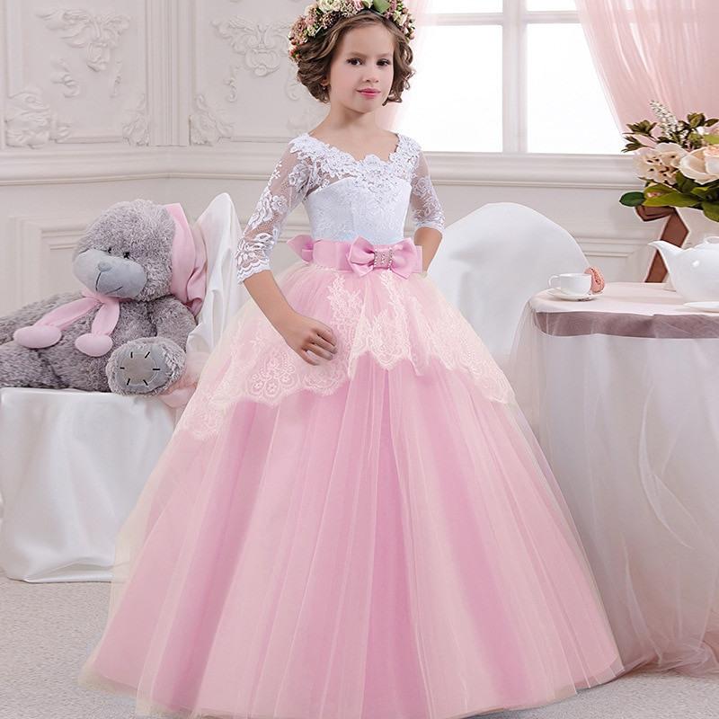 Mädchen Elegante Spitze Prinzessin Kleid Kommunion