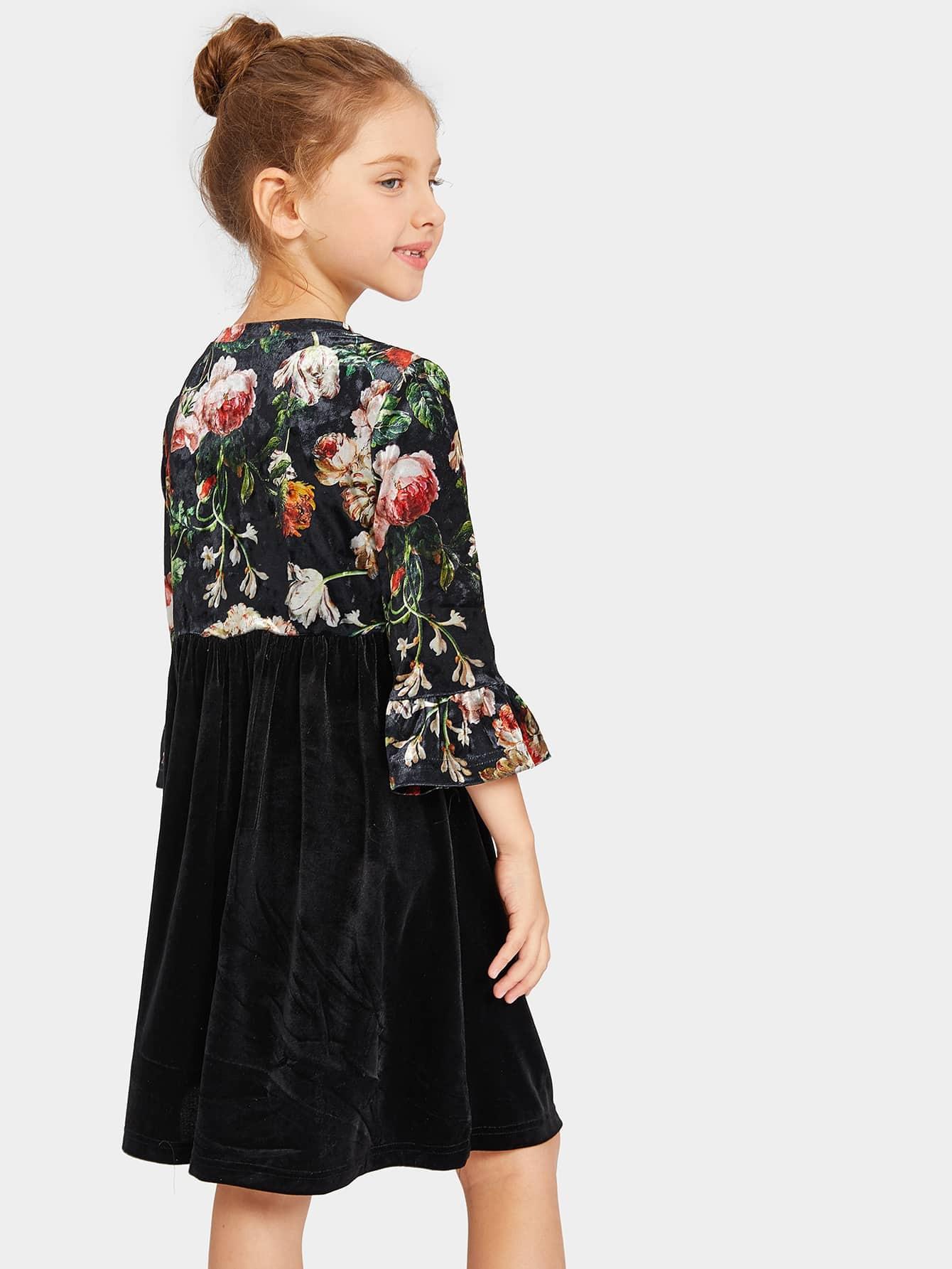 Mädchen Hängerkleid Mit Schönßchen Ärmelblumen Muster Und
