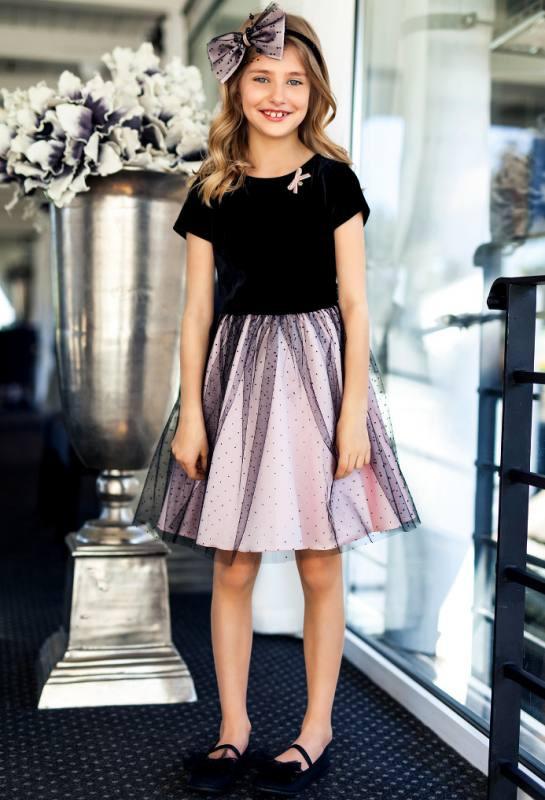 Mädchen Kleid Einschulung Hochzeit Tüll Schwarz Rosa