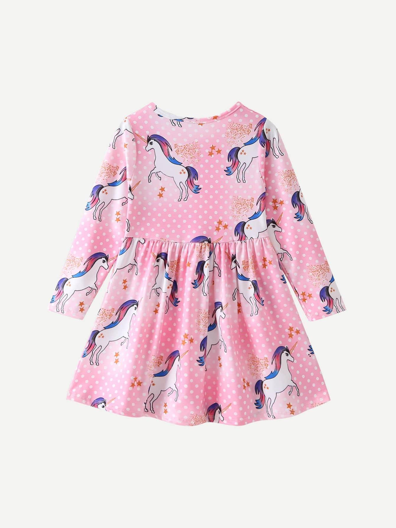Mädchen Kleid Mit Aufdruck  Einhorn  Shein