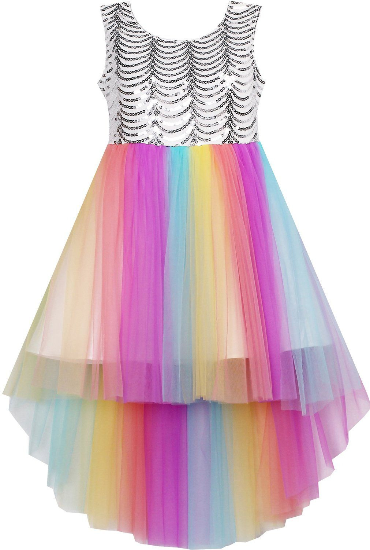 Mädchen Kleid Pailletten Masche Hochzeit Prinzessin Tüll
