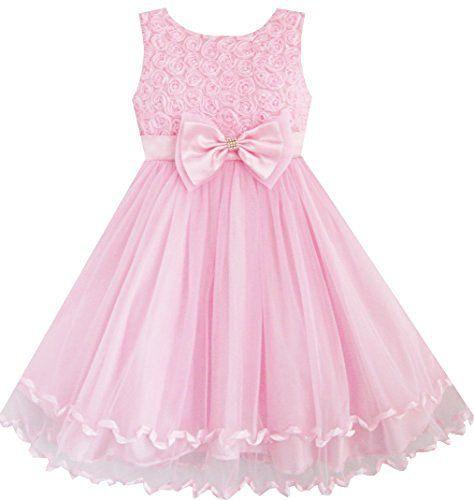 Mädchen Kleid Rosa Rose Bogen Binden Gürtel Hochzeit Party
