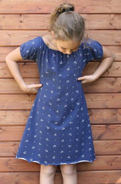Mädchen Kleid Sommerkleid Carmenkleid Jersey Maritim Anker