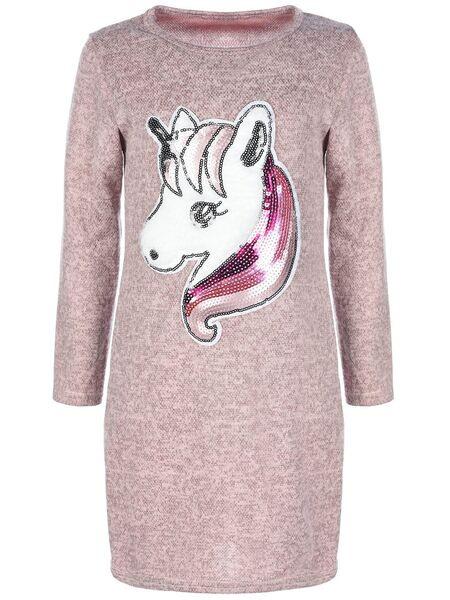 Mädchen Pullover Tunika Kleid Einhornmotiv Pailletten