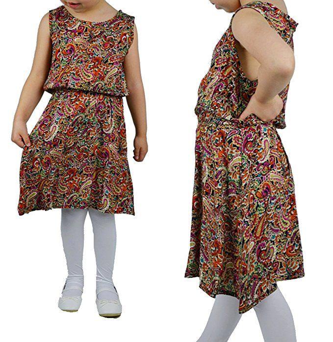 Mädchen Sommerkleid Bunt Kleid Knielang Ärmellos Kleider