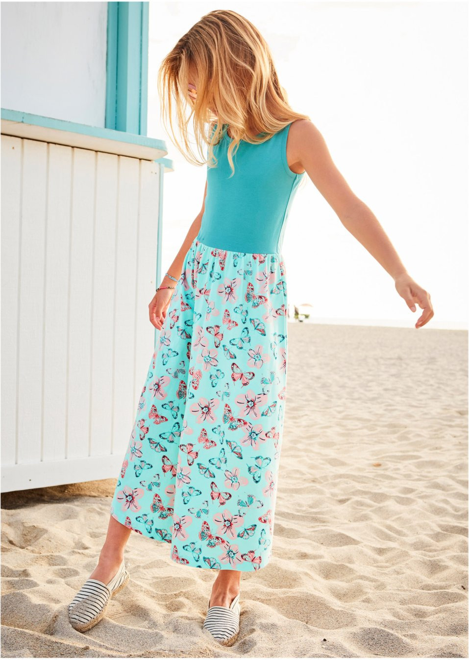 Mädchen Sommerkleid Meeresgrün/Pastellmint Bedruckt