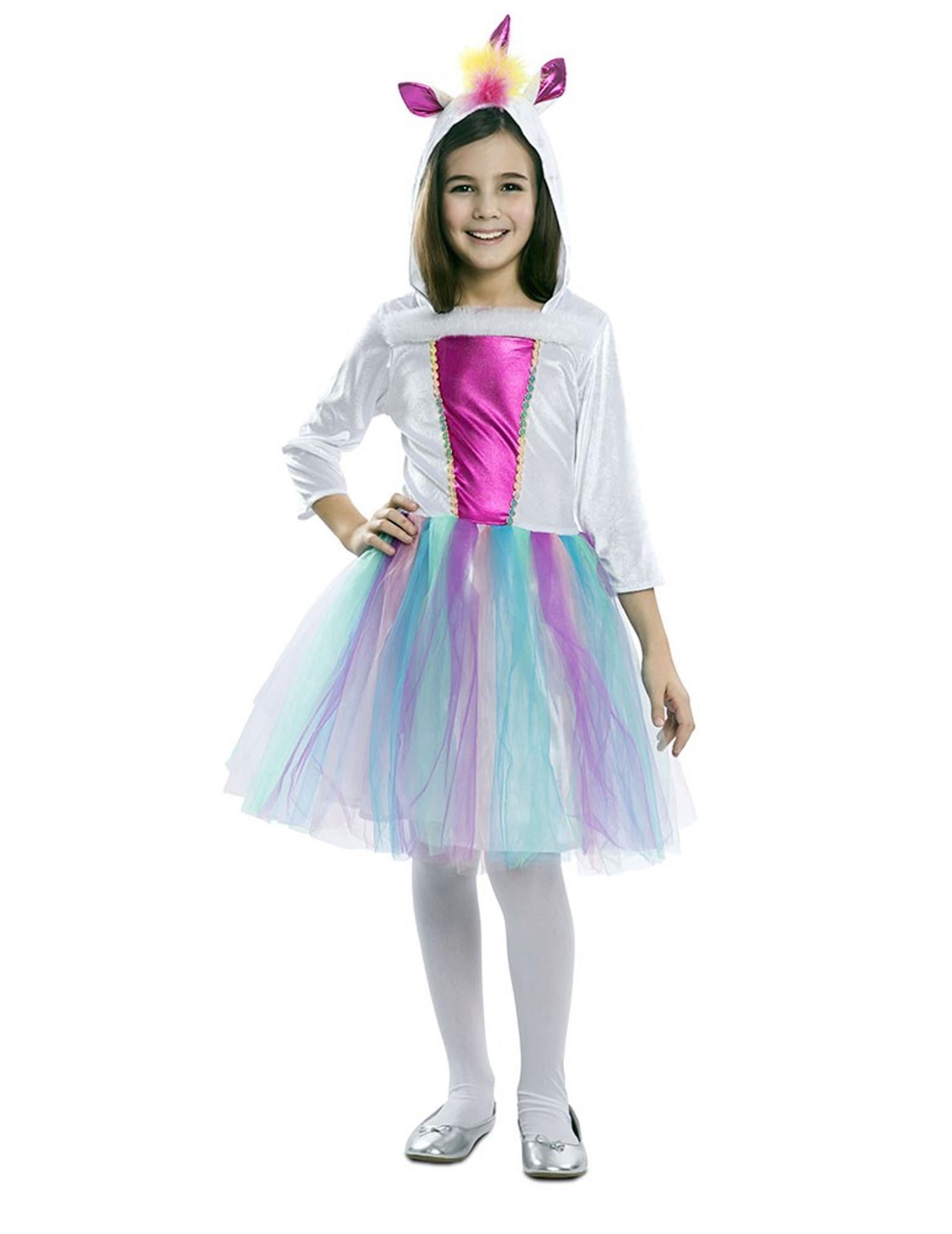 Mädchenkostüme Kinder Kostüm Regenbogen Einhorn Kleid Gr