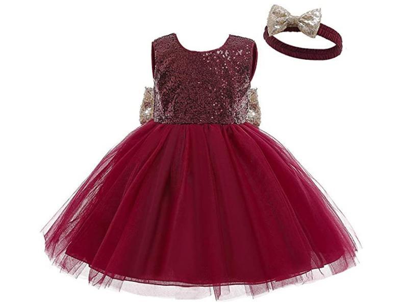 Mädchenweihnachtskleid Baby Xmas Kleid Rote Schleife