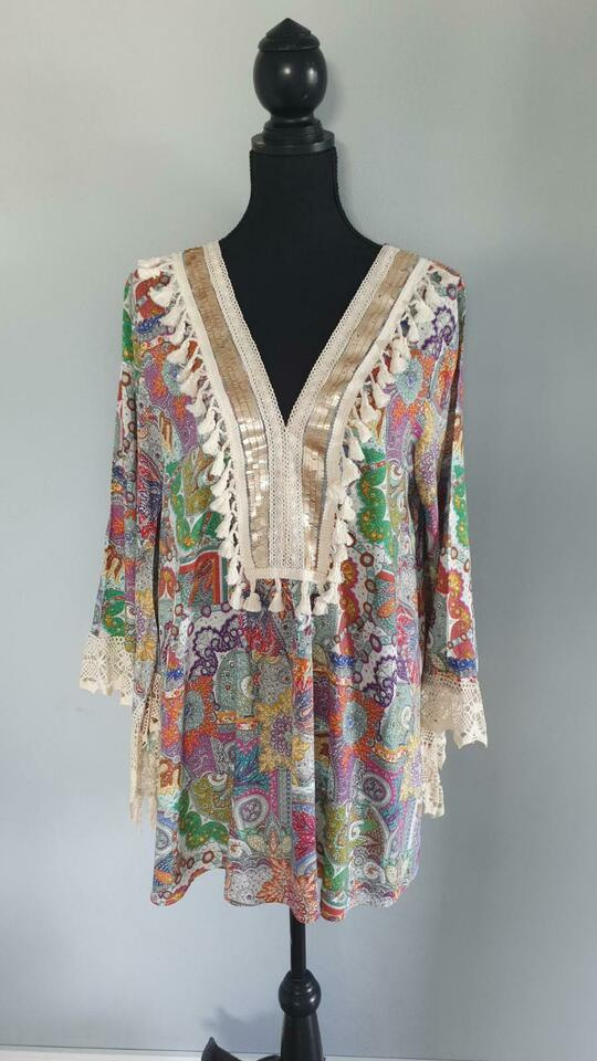 Made In Italy Tunika Kleid Gr M/L Hippie Ibiza Style In
