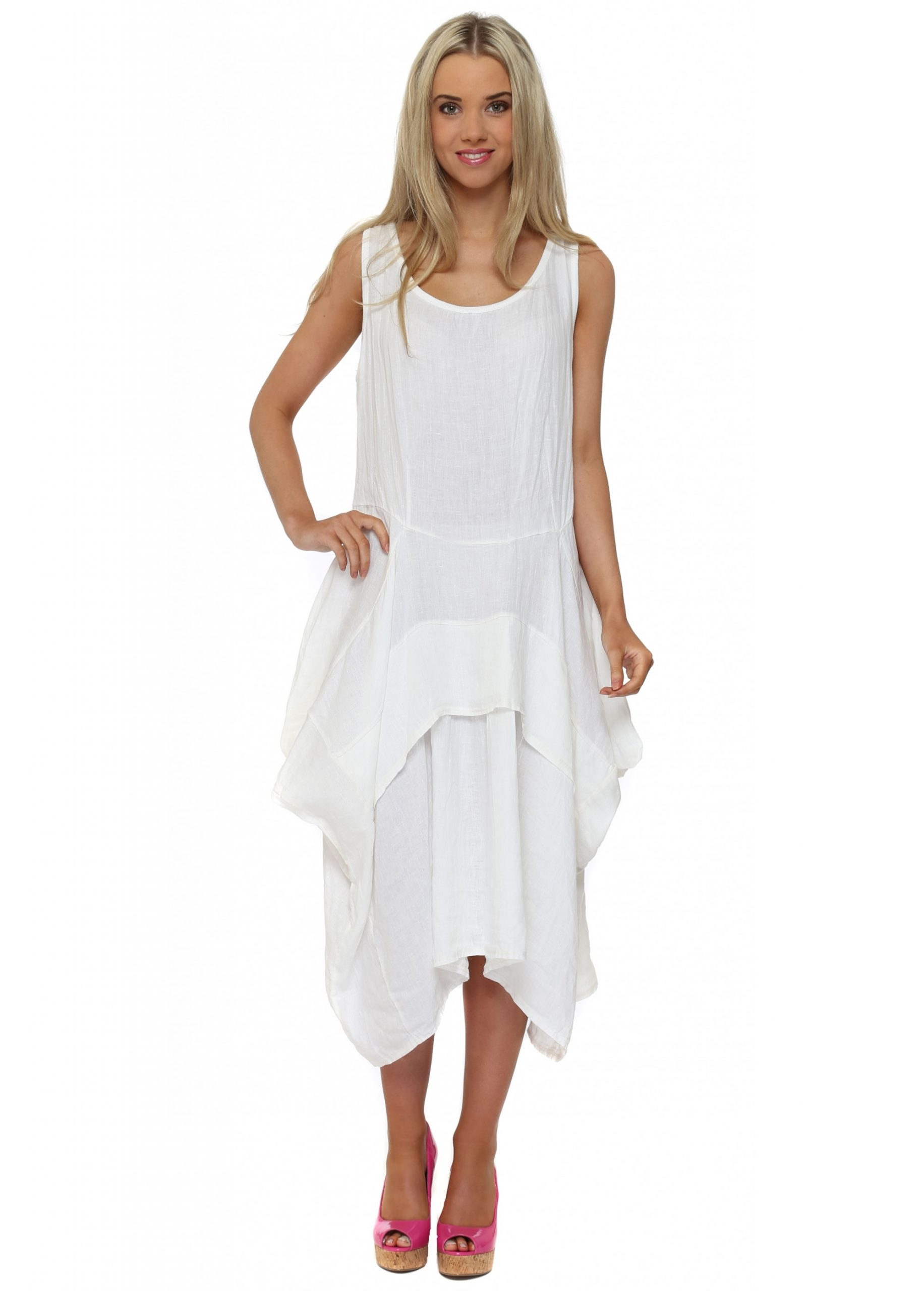 Made In Italy  White Linen Layered Day Dress