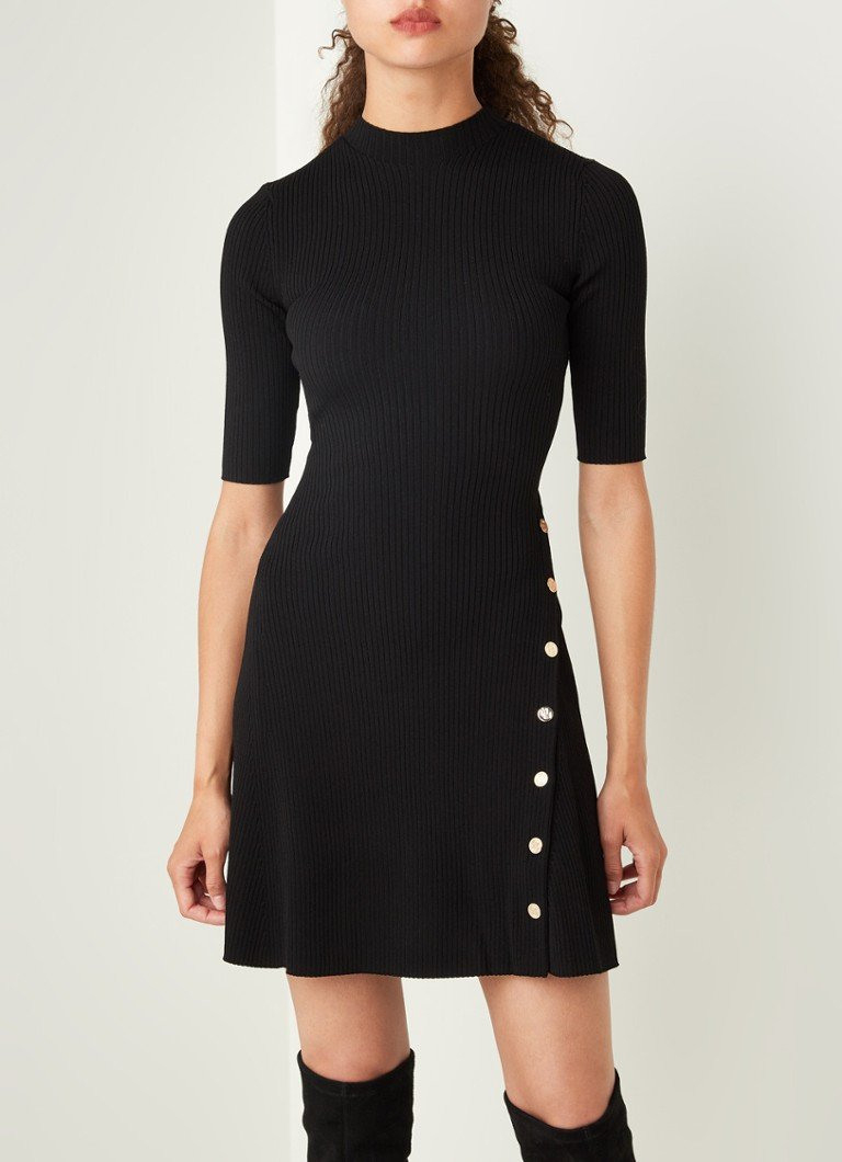 Maje Roseo Kleines Schwarzes Kleid Mit Dekorativen Knöpfen