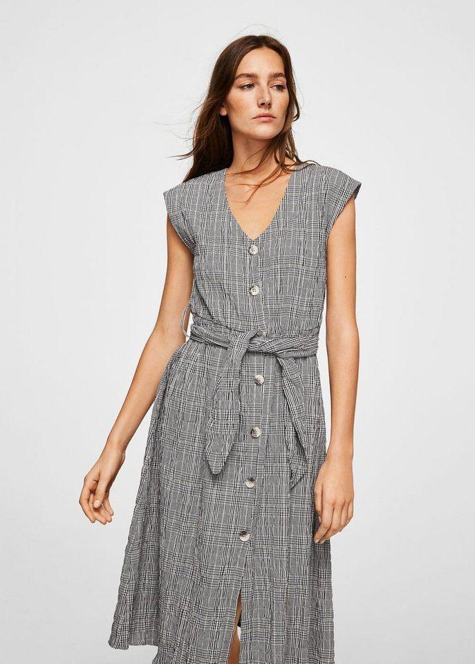 Mango Kariertes Kleid Mit Gürtel  Kariertes Kleid Kleid