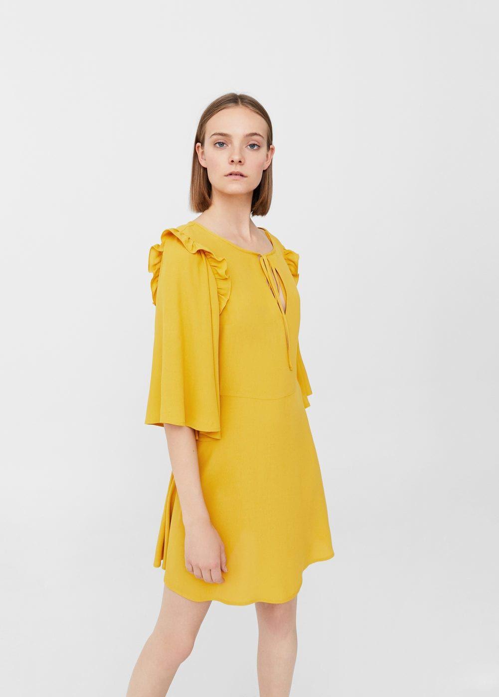 Mango Kleid Lang Gelb  Stylische Kleider Für Jeden Tag