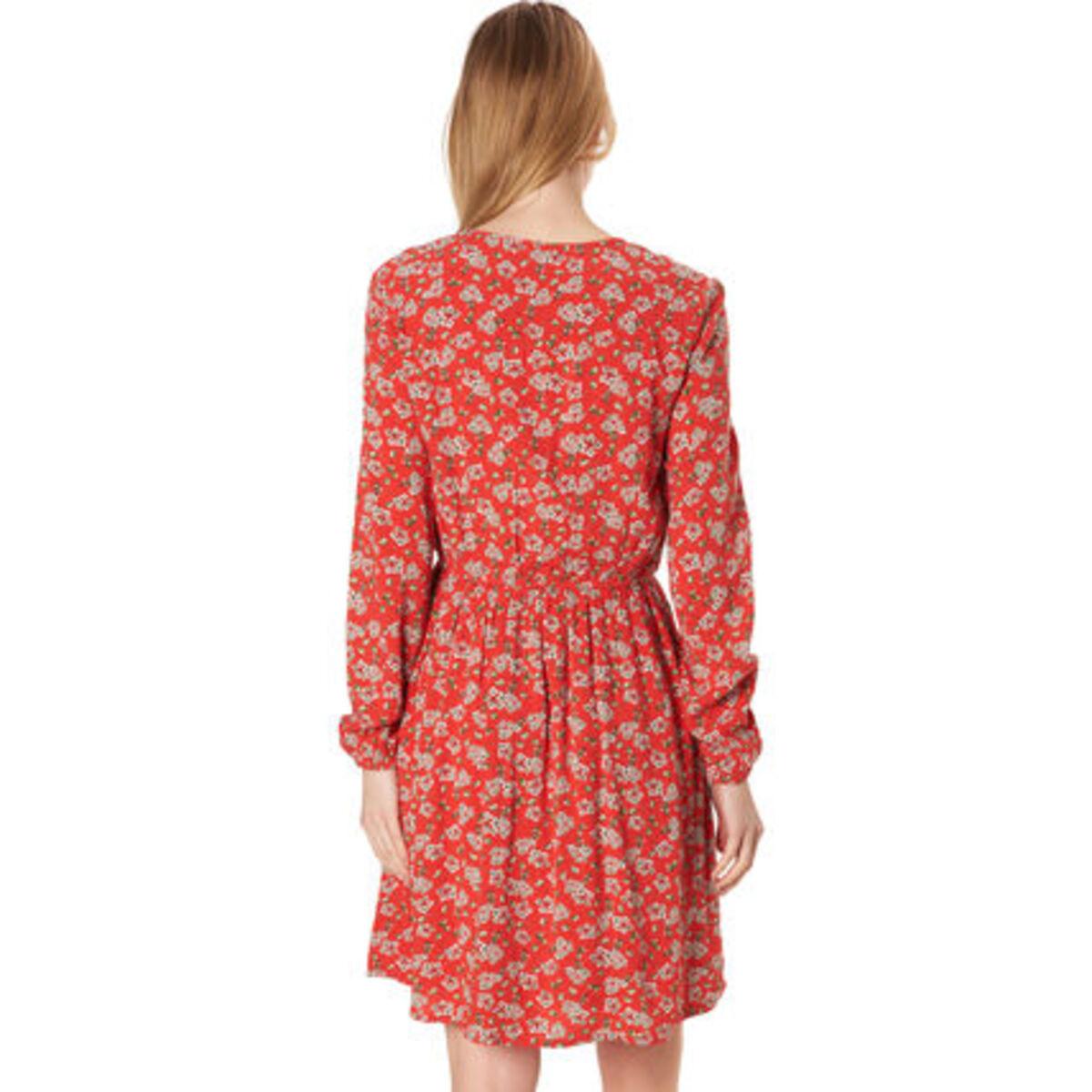 Manguun Kleid Wickeloptik Vausschnitt Taillenbund Für
